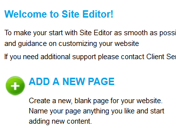 welcome to site editor
